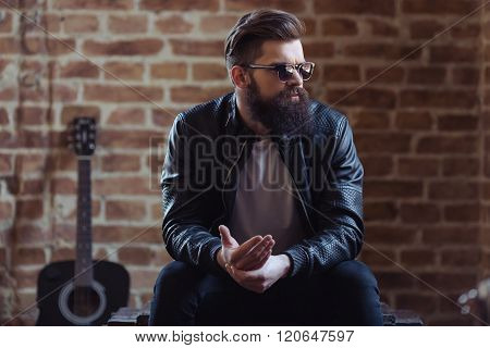 Stylish Bearded Musician