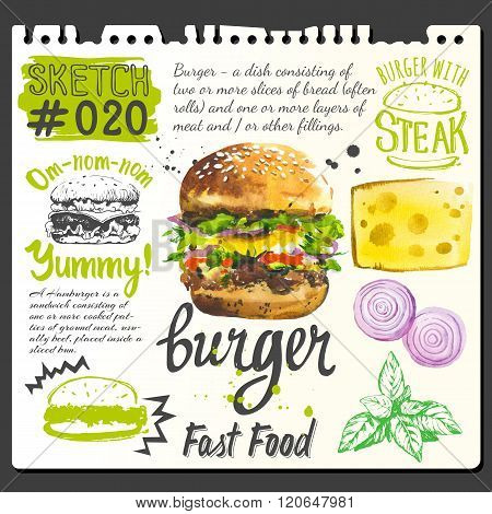 Food sketchbook with burger, food and cooking recipe.