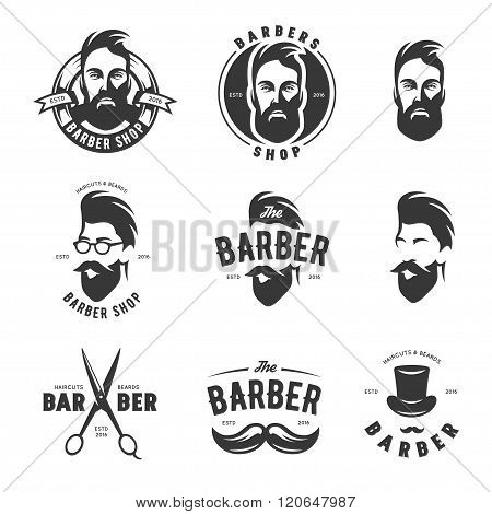 Set of vintage barber shop vector emblems, label, badges and design elements.