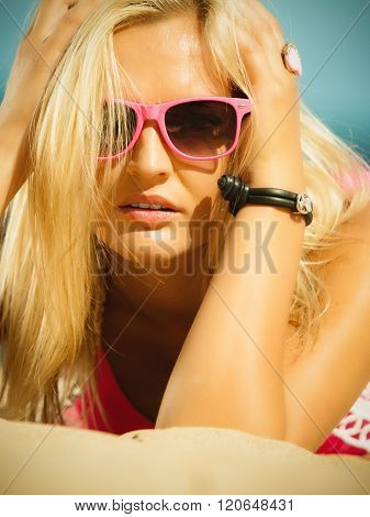Beautiful Blonde Girl In Sunglasses Outdoor