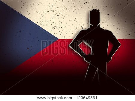 Silhouette Illustration Of A Man Standing In Front Of Czech Republic Flag