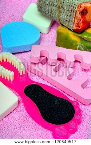 Foot Care. Pedicure Set On A Pink Towel.