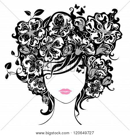 Woman With Flowers In Hair.