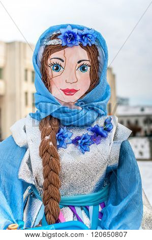 Russia Yaroslavl 16 of February 2015. Russian Maslenitsa doll for burning in Yaroslavl Carnival - Shrovetide time in Russia. Maslenitsa lasts for 7 days and on last day people burn a doll