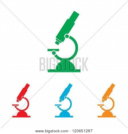 Microscope sign. Colorfull set