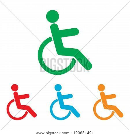 Disabled sign. Colorfull set