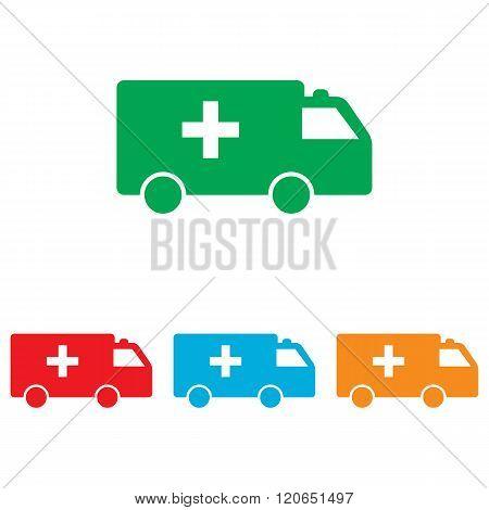 Ambulance sign. Colorfull set