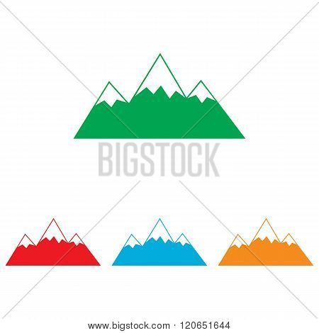 Mountain sign. Colorfull set