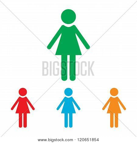 Woman sign. Colorfull set