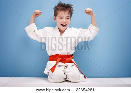 Boy In Karate Costume.