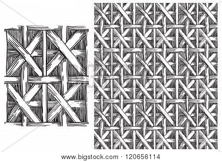 Black and white  pattern of basketry