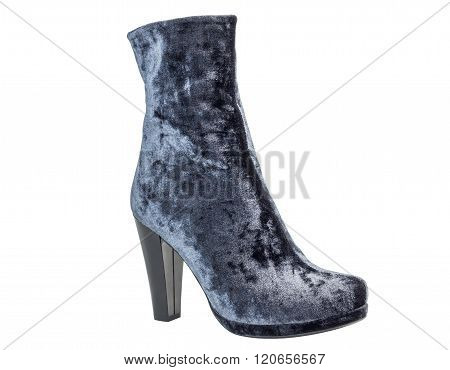 One gray suede women's boot on heels