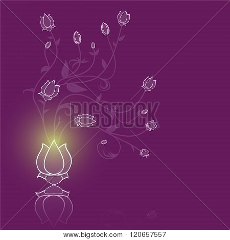 Floral Abstract Vector Purple Background