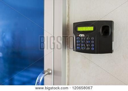 An Fingerprint machine server safety  with soft light .