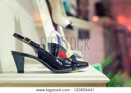 Woman's shoes on the show case