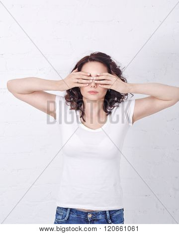 Girl Closed Her Eyes With Hands.
