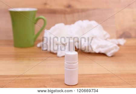 Nose Drops For Colds, Used Handkerchiefs And Hot Tea