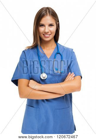 Nurse portrait. Isolated on white