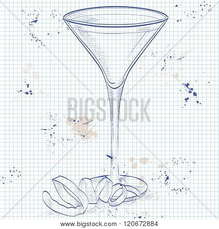 Cocktail Vesper mixed drink on a notebook page