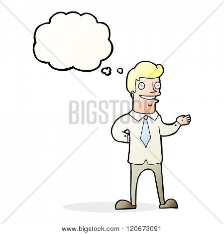 cartoon salesman with thought bubble