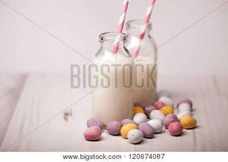 Chocolate Easter Eggs And Milk