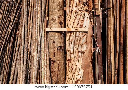 Raw wood stored