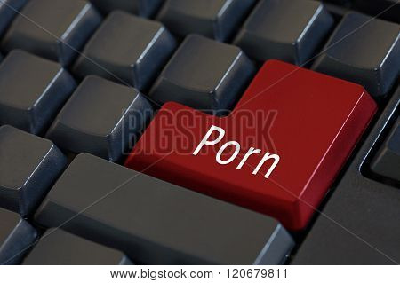 The Word 'PORN' on black enter keyboard poster