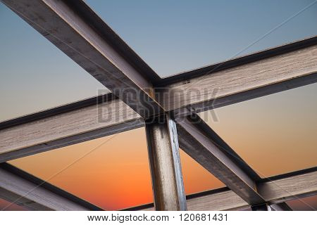 I-Beam steel construction, on sky in sunset