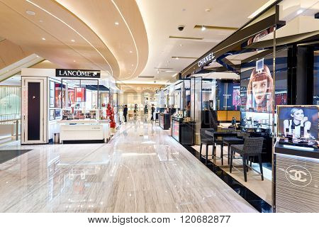 SHENZHEN, CHINA - FEBRUARY 05, 2016: interior of MixC Shopping Mall. MixC Shopping Mall is a large shopping mall located on No.1881, Bao'an Nan Road, Luohu District, ShenZhen, China.
