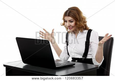 Angry Businesswoman At Laptop