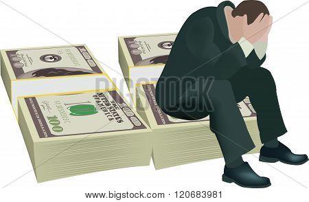 person desperate gambling debt
