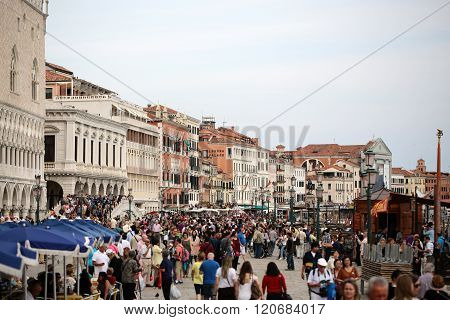 Venetian Square Full Of Tourists