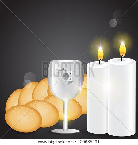 Illustration Of Candles And Kiddush Cup With Challah.