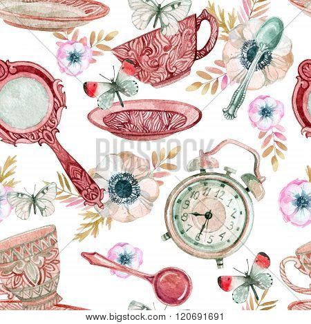 Watercolor Tea Seamless Pattern