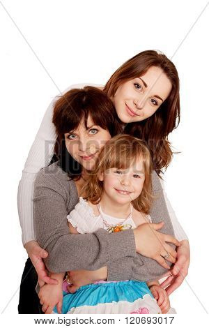 Mother Hugging With Two Daughters.