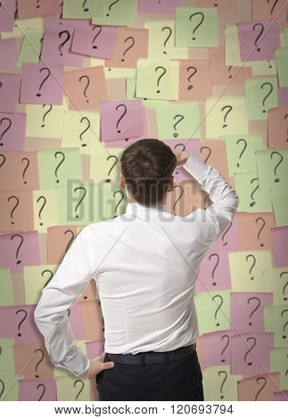 Brainstorming. Businessman makes a choice