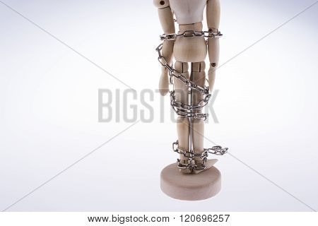 Wooden Model Man In Chains