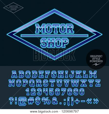 Retro neon blue plastic logo for motor shop. Vector set of letters, numbers and symbols.