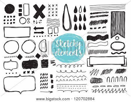 Set of hand drawn sketchy elements, brush strokes.