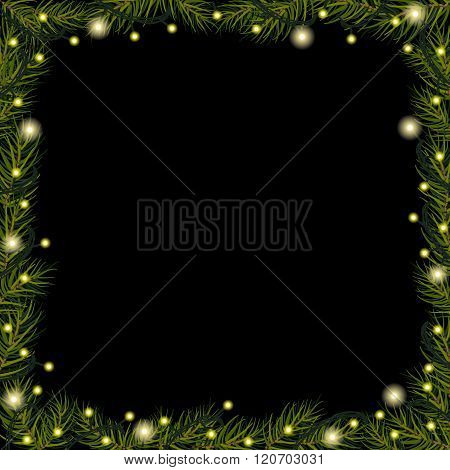 Christmas Lights On Spruce (fir) Branches On Black Background