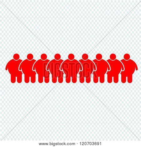 an images of Fat People Icon Illustration design red