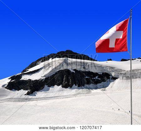 Chessjen glacier above the ski resort of Saas Fee in Pennine Alps, Switzerland