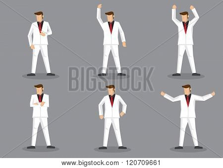 Flamboyant Man In White Suit Vector Cartoon Character Set