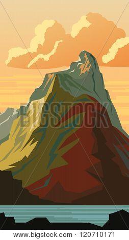 Vertical Cartoon Illustration Of Mountain Peak