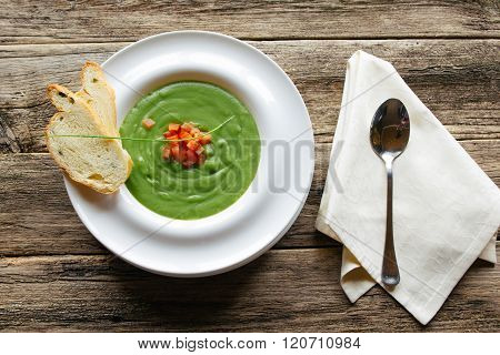 vegetarian food. Vegetable soup on wooden table