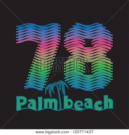 Palm Beach, Typography Surfing T-shirts