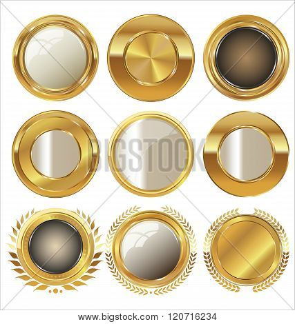 Quality golden medallion with laurel wreath collection