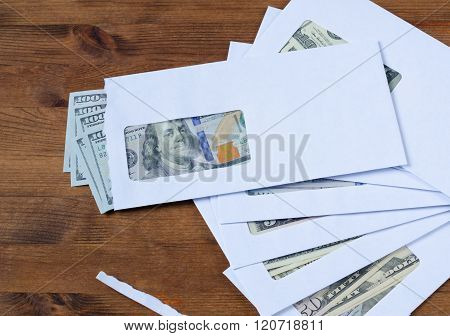 American Dollars In The Envelopes