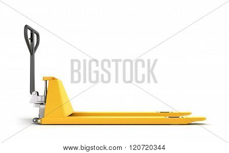 One Pallet Truck Or Forklift Isolated On White
