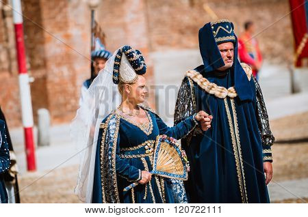 Senior Couple Of Medieval Nobles On Parade